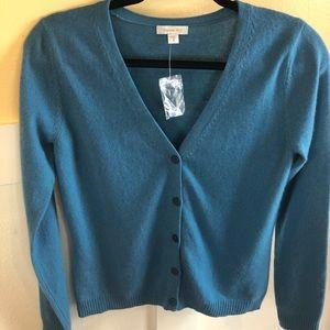 Garnet Hill cashmere sweater XS blue cardigan FLAW